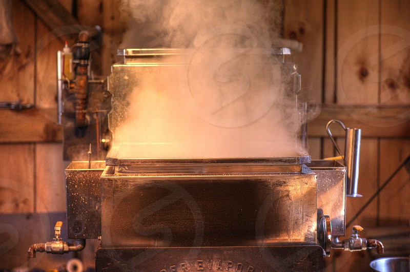 Maple Syrup brewing in the Sugar Shack. photo