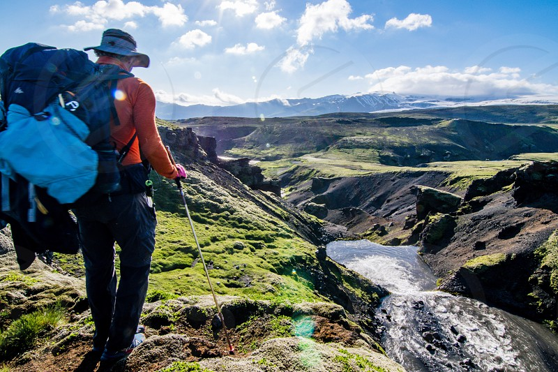 Backpackers hiking outdoors  photo