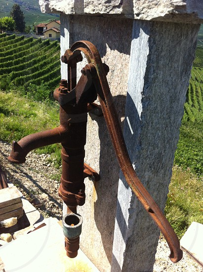 fountain pump oldest vineyard in Piedmont Italy photo