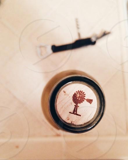 corked • wine bottle • cork • white wine • bird's eye view • photo