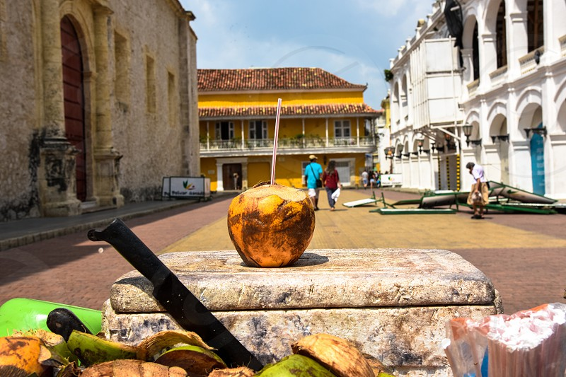 Coconut Cartagena Colombia old buildings colored streets colorful buildings  photo
