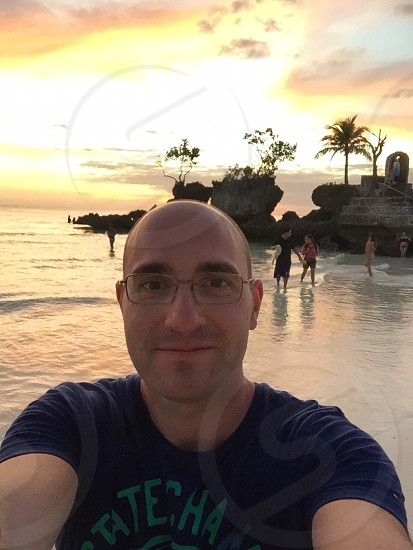 Selfie during sunset in Boracay island Philippines photo