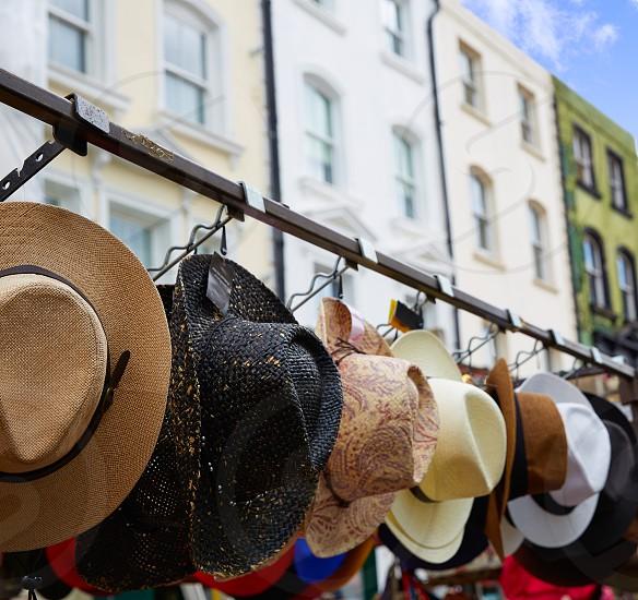 London Portobello road Market vintage hats in UK England photo