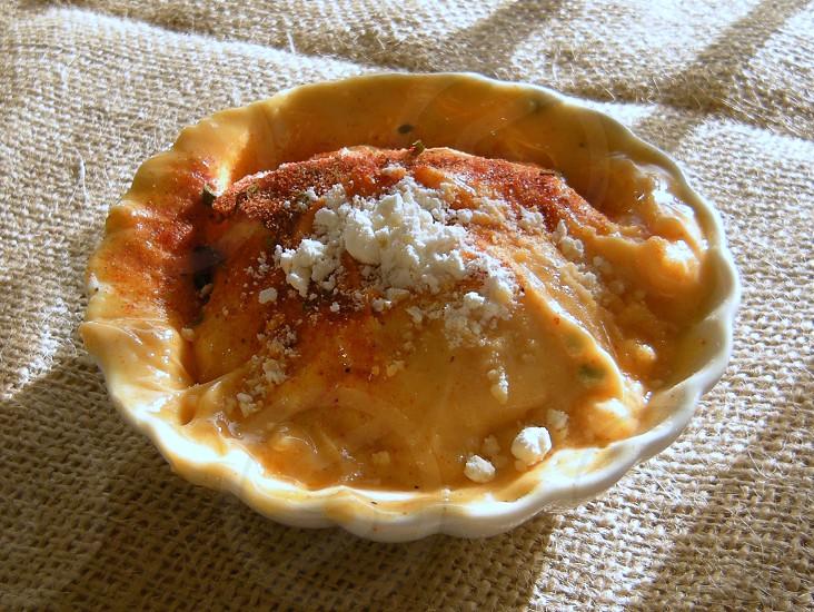 Small cheese tart on burlap photo
