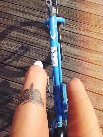 Boardwalk bike shadow  photo