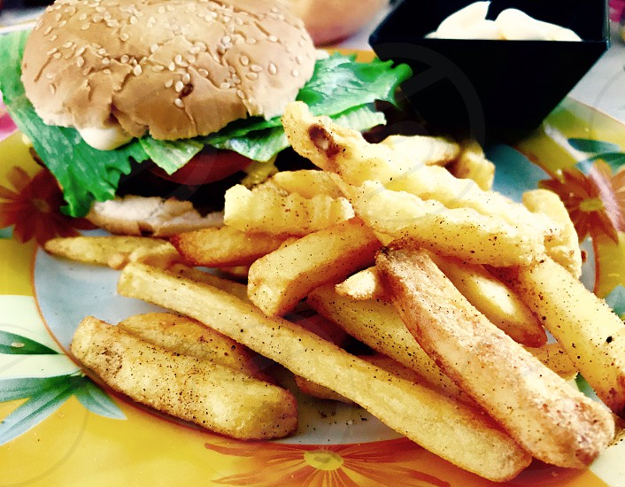 Snack Pommes Fries Burger delicious  photo