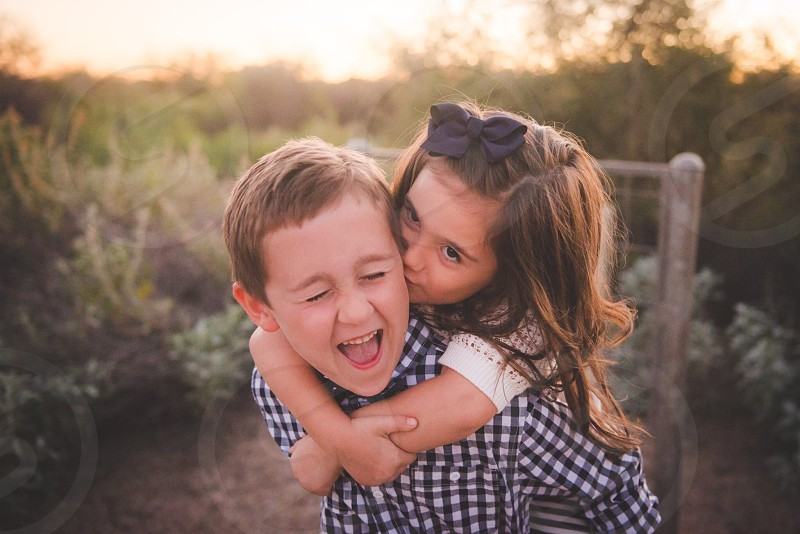 Kids boy girl siblings love joy thankful holidays Happy  photo