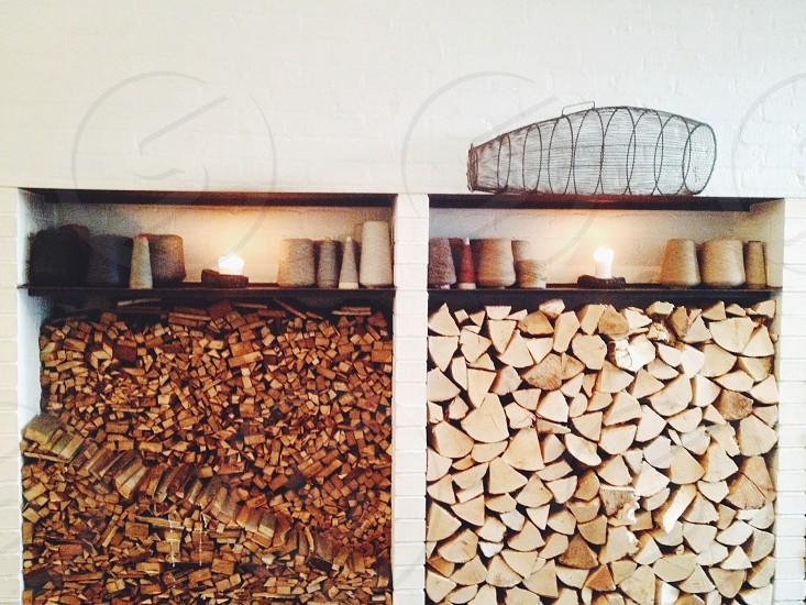 Woodpile interior modern design rustic fire wood.  photo