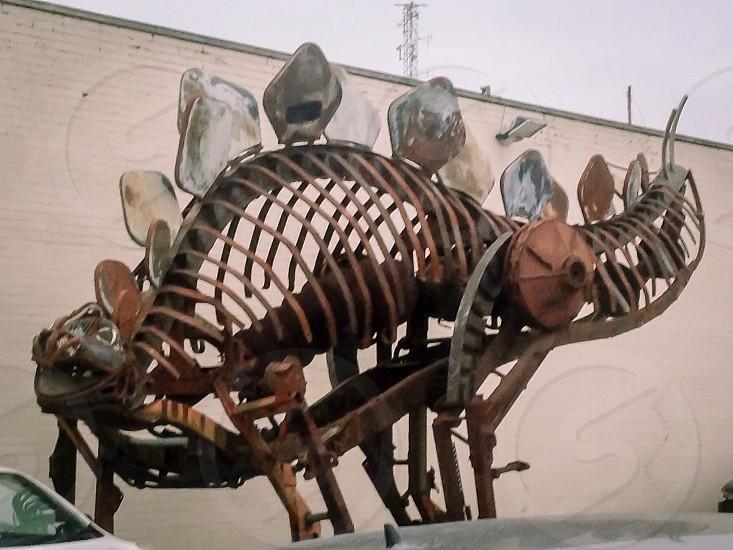 Steel fabrication metal plate welded construction dinosaur photo