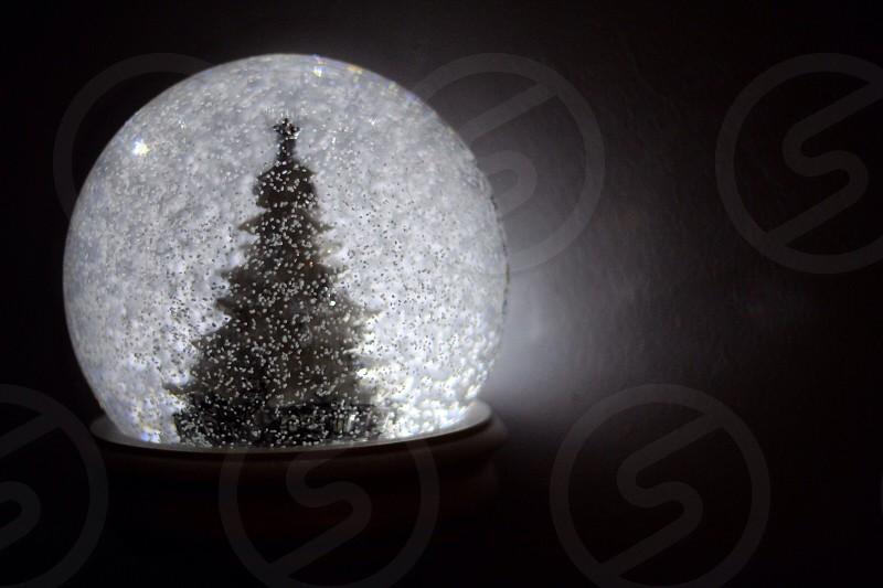 Snow snow globe Christmas Christmas tree holiday lights globe glitter  photo