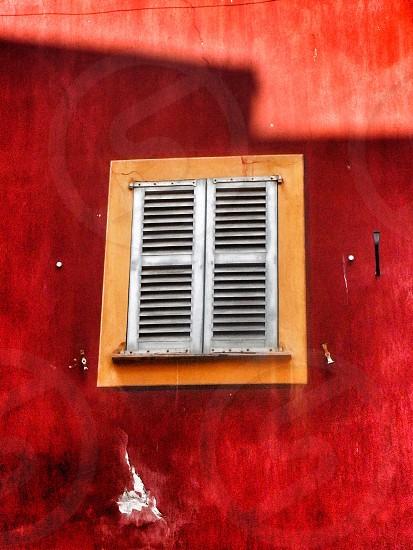 Window red wall Nice France photo