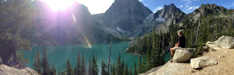Enchantment lakes looking at Azgard pass   photo