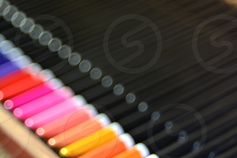 colour stream pencils out of focus photo