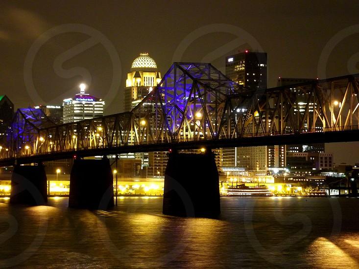 Louisville bridge night city river photo