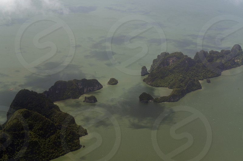 the landscape of the Ao Phang Nga Nationalpark on the Phuket Island in the south of Thailand in Southeastasia.