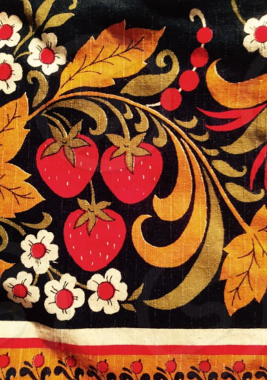 yellow and red white floral printed textile photo