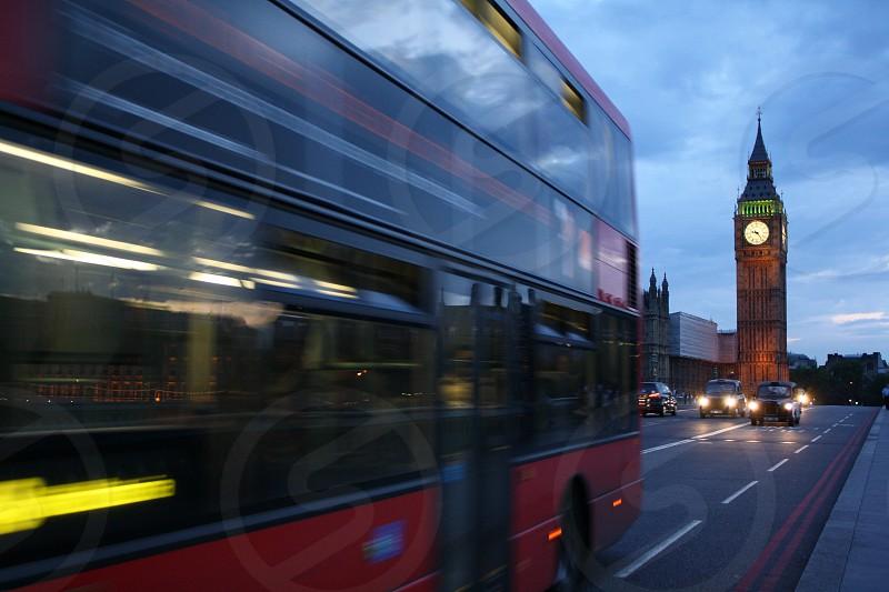 London England Red Bus Big Ben Dusk Taxi photo