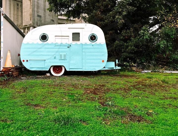 Trailer on a grassy lawn photo