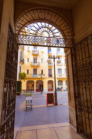 Valencia Milagro del Mocadoret square from Pasaje Giner at Spain photo
