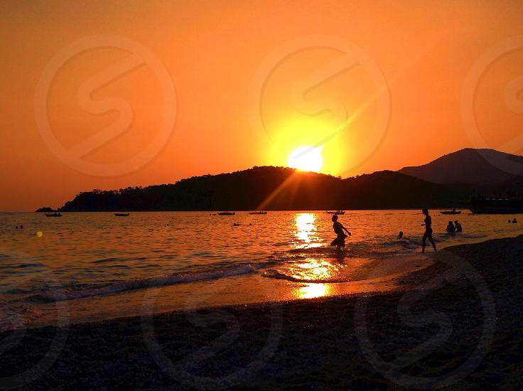 Mediterranean Sea at the sunset photo