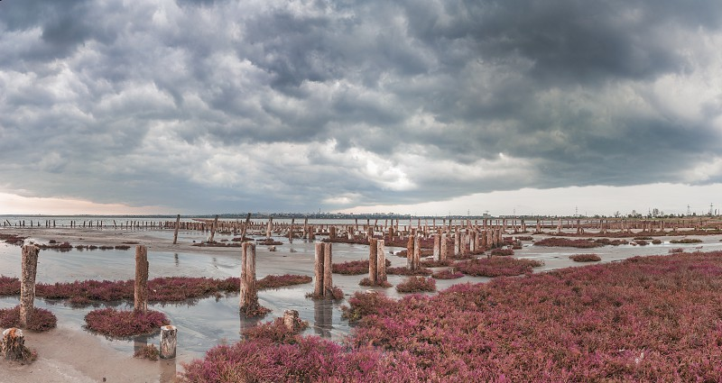 Storm clouds over the Kuyalnik Salty drying estuary in Odessa Ukraine photo