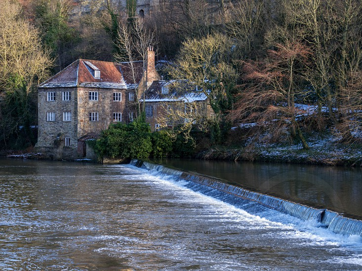 DURHAM COUNTY DURHAM/UK - JANUARY 19 : View of a House on the bank of the River Wear in Durham County Durham on January 19 2018 photo