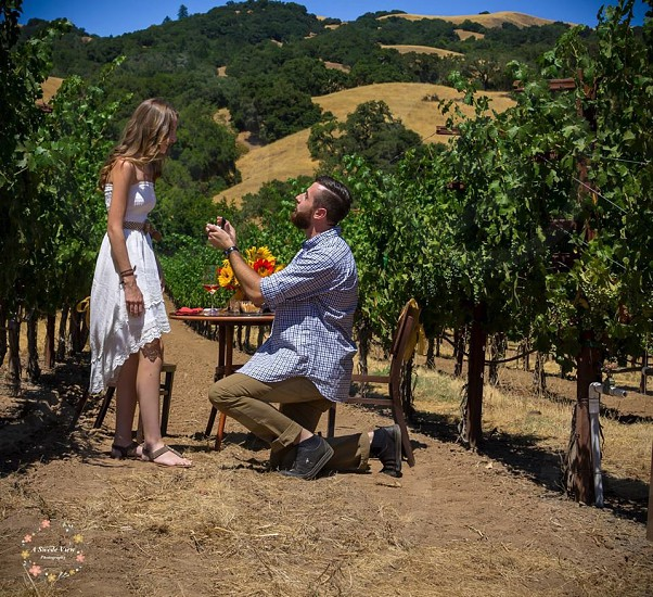 A surprise summer proposal in wine country  photo