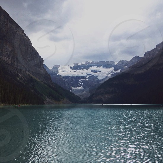 rock formation and lake photography  photo