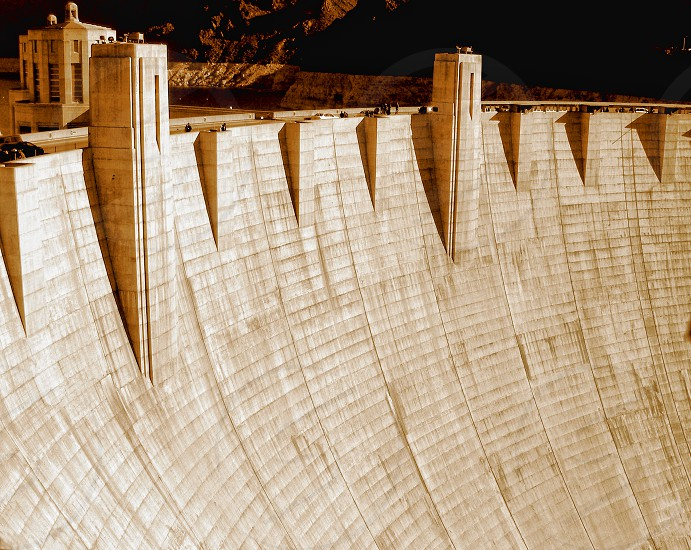 Cement wall of Hoover Dam photo