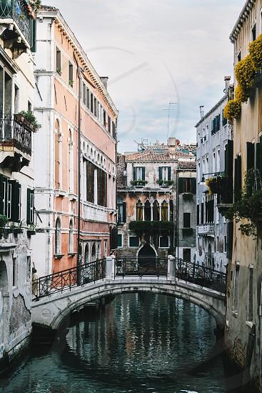 venice canal canals bridge buildings italy veneto city photo