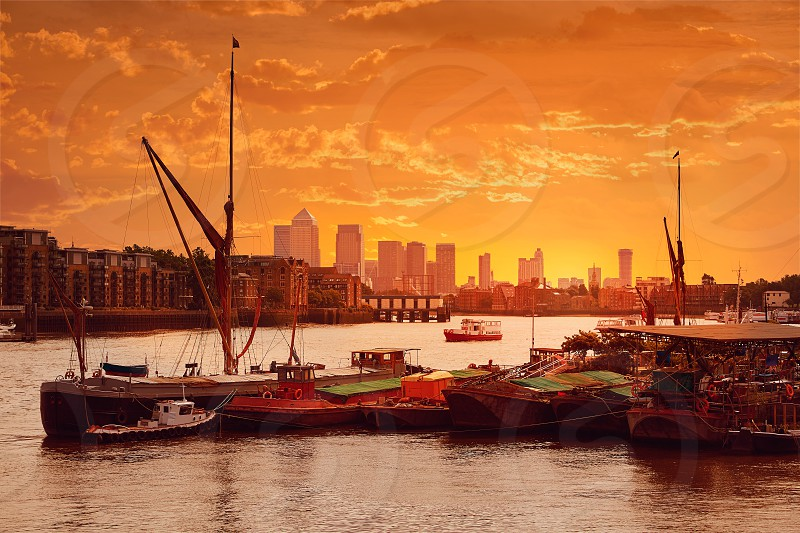 London Thames river boats sunset in England photo