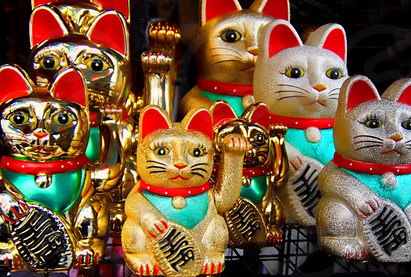 """Lucky Cats""- souvenirs found in  San Francisco's Chinatown. photo"