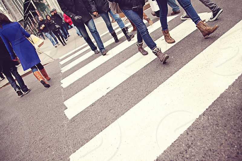 Crossing the street on Michigan Avenue in Chicago Illinois photo