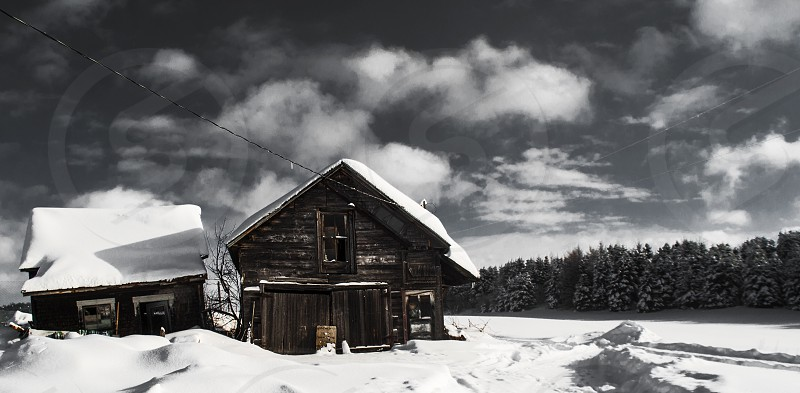 old house snow winter landscape  photo