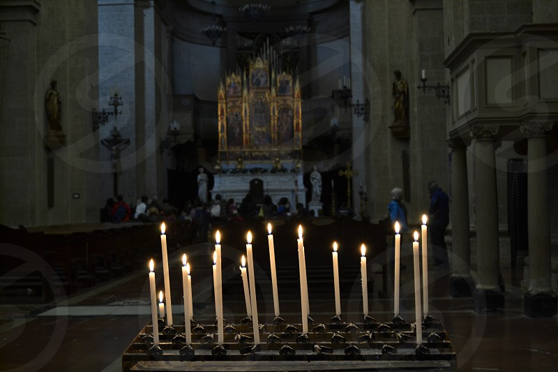 Candles in church Italy photo