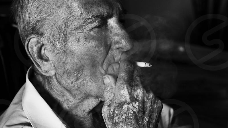 Man Smoking Cigarette photo
