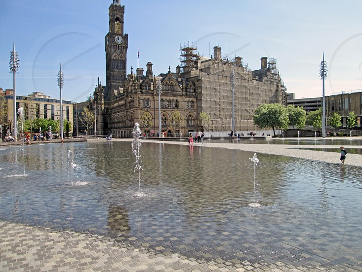 ENGLAND. WEST YORKSHIRE. BRADFORD. Centenary Square and pool in the city centre. photo
