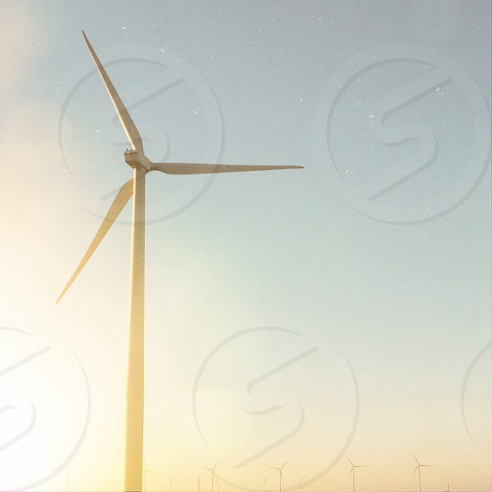 Wind windmill turbine prairie Oklahoma sunlit light energy conservation green Eco  photo