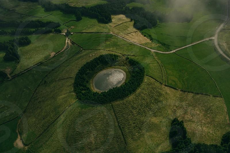 Volcano lake nature landscape travel mavic pro hasselblad drone aerial pines colors green photo