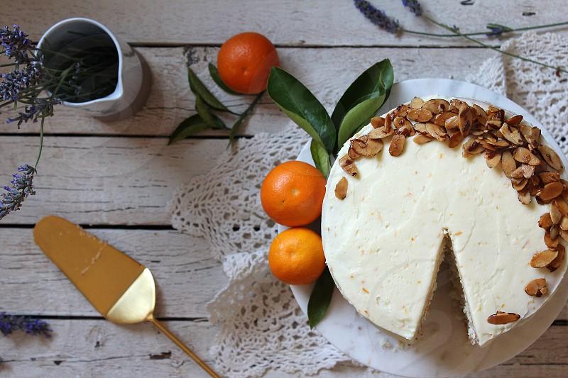 Vanilla Cake with Fresh Tangerine Curd and Zesty Mascarpone Buttercream photo