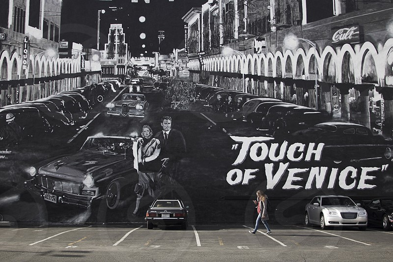 """""""touch of venice"""" wall art on parking lot photo"""