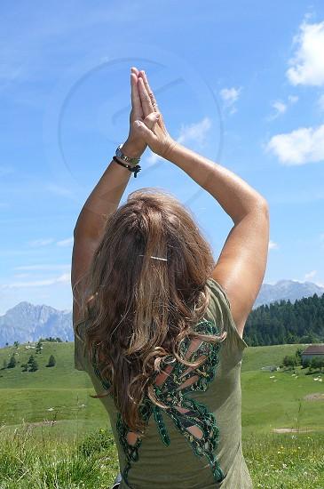 raised arms woman worship thanksgiving woman praying sky photo