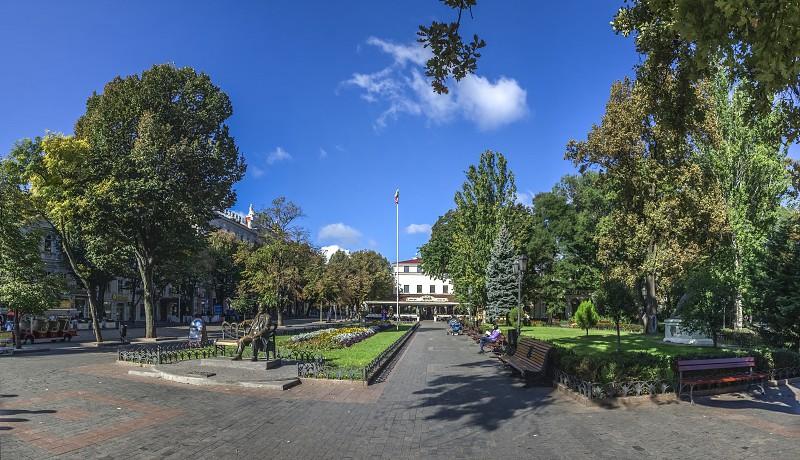 Odessa Ukraine - 09.25.2018. Deribasovskaya street in Odessa Ukraine. The most popular place for tourists photo