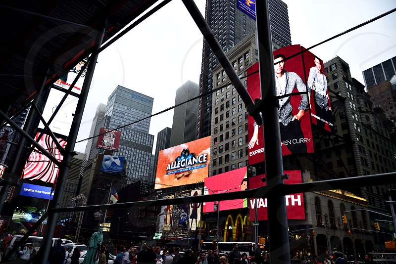 Times Square framed scaffolding street photography billboards. photo