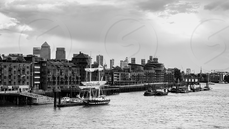 Sloop Moored on the North Bank of the River Thames photo