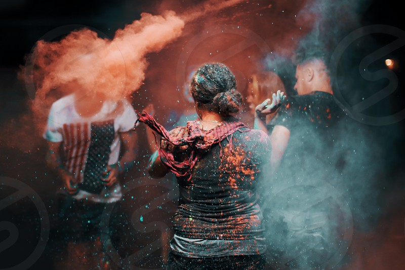 Dust neon powder fun party colorful real orange people photo