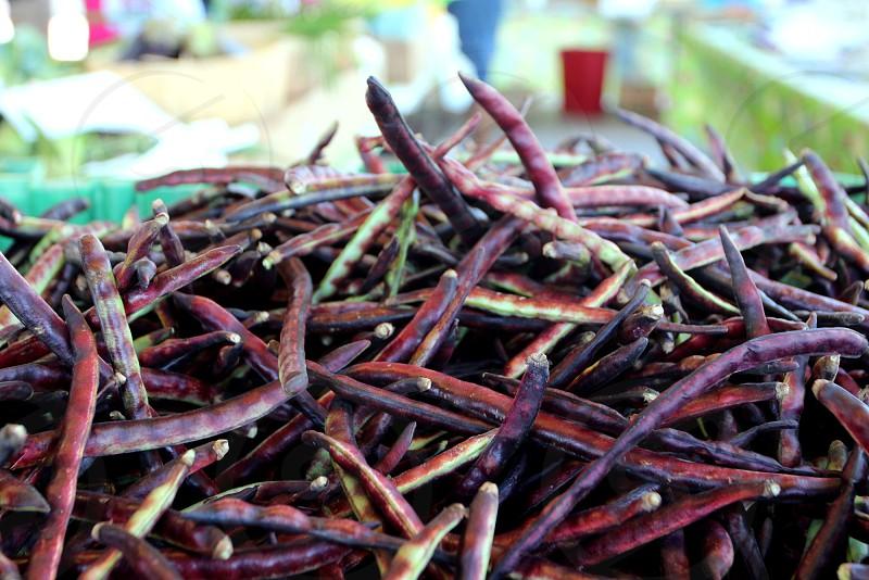 Purple hull peas at farmers market photo