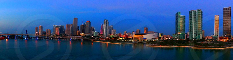 Panorama of Miami Skyline before sunrise photo
