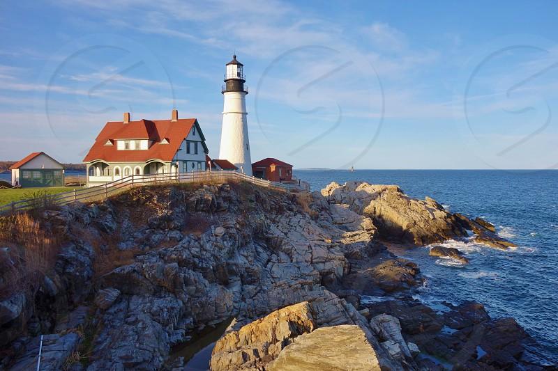 Lighthouse on Casco Bay in Portland Maine photo