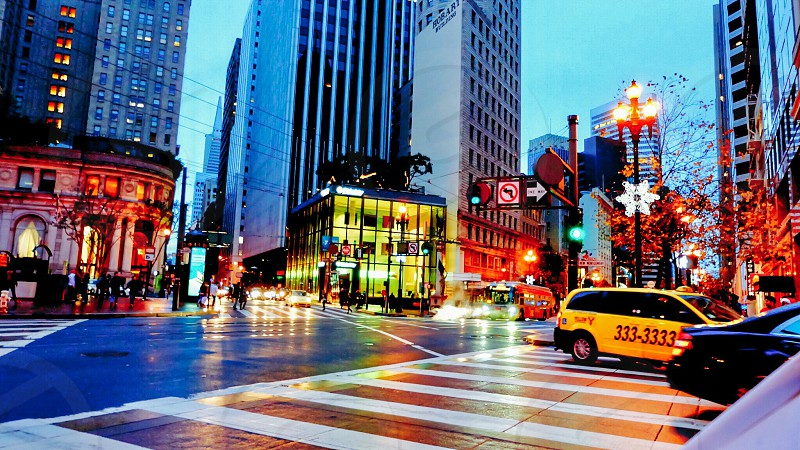Hustle bustle city travel street San Francisco California USA Bay Area commute cars taxis  photo